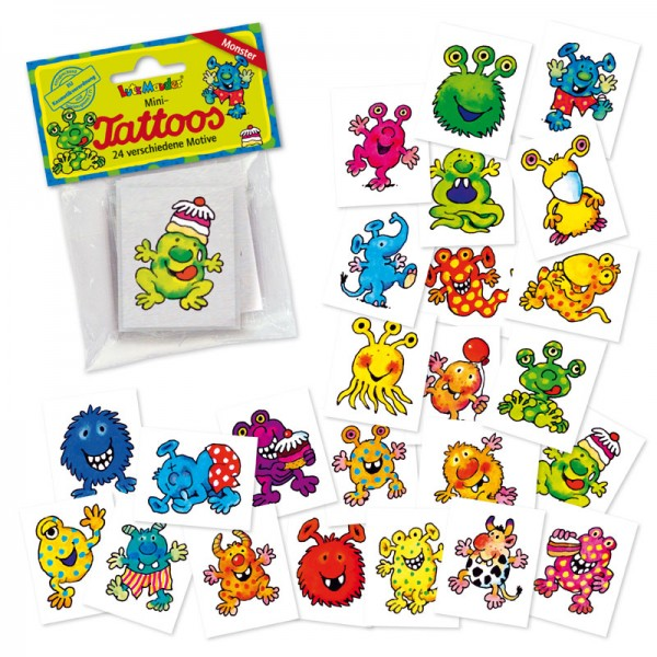 Mini-Tattoo-Set Monster 24 tlg. - Mitgebsel