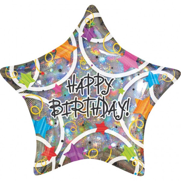 Folienballon Happy Birthday - Stern ca. 48cm